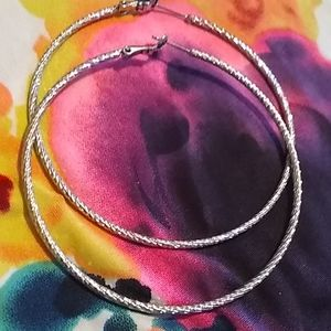 "925 Sterling Silver 3.25"" twisted hoop earrings"